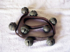 """Antique 8 Horse Sleigh Bells on Brown 25.5"""" Leather Strap"""
