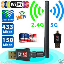 600Mbps Dual Band 2.4/5Ghz Wireless USB WiFi Network Adapter 802.11AC w/ Antenna