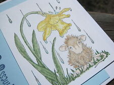 Spring Handmade Greeting Card, flower, beautiful, House Mouse, happiness, friend