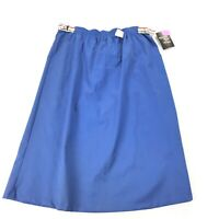 VINTAGE 1970s Booth Bay Plus Skirt Size 34 Womens Solid Blue Rainbow Belts NWT