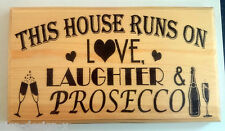 Large Love Laughter Prosecco Plaque / Sign - House Family Alcohol Funny Wine