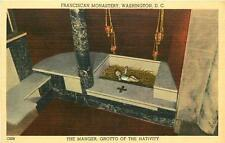 Washington Dc Franciscan Monastery The Manger Grotto Of Nativity Postcard c1940s