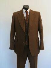 Vintage Hardy Amies Three Piece Brown Pin Striped Suit by Hepworths - 1973
