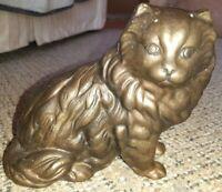 """Vintage Heavy Brass Cat Statue Vintage  Standing Figurine 7.5"""" x 4"""""""