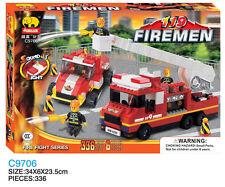 Woma Feuerwehr Lkw mit Sound + Licht Bausteine Set 336 Teile C9706A
