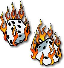 Vinyl sticker/decal Extra small 50mm Flaming dice - pair