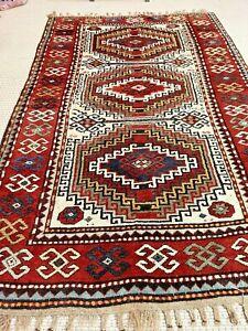 Auth:  Antique Caucasian Kazak Rug    Memlling Gul Wool Chunky Beauty     5x7 NR