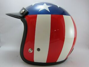 Vintage Vespa Scooter Motor USA flag Original open face Helmet