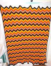 Chevron Estampado Hecho a Mano Afgano Manta Croché Multicolor 117cm X 152cm