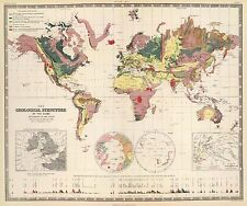 GEOLOGICAL STRUCTURE, 1855 World Map Vintage Giclee Canvas Print 30X25