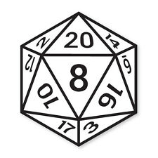 12 Sided Dice- Fantasy Board Games, Gaming vinyl car, van decal stickers