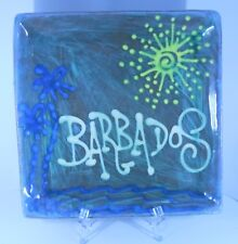 EARTHWORKS * MADE IN BARBADOS POTTERY SQUARE SERVING DISH 8 1/2 inches SUN WAVES