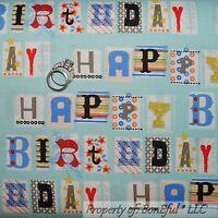 BonEful Fabric FQ Cotton Quilt Blue Boy Happy Birthday Letter Block Baby Stripe