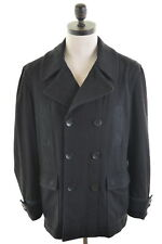 DKNY JEANS Mens Double Breasted Peacoat Size 42 Large Black Wool