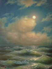 18x24 ORIGINAL OIL PAINTING MESH FINE ART SEASCAPE Storm Night Moon Gulf Mexico