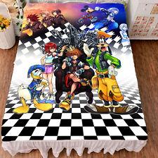 Game Kingdom Hearts Sora Cosplay Otaku Anime Gift Flat Bed Sheet Blanket Bedding