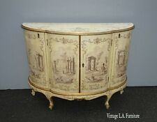 Antique French Country Italian White Hand Painted Demilune Chest Made in Italy