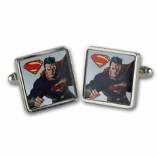NEW SUPERMAN MAN OF STEEL FLYING SQUARE CUFFLINKS RETRO DC SMALLVILLE COMICS