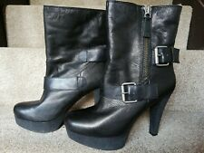 Nine West Black Leather Boots, Size 6