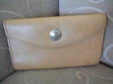 Rare Chamois Tan Vintage Indian Head Nickle Leather Trifold Wallet