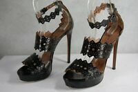 ALAIA PARIS LASER CUT BLACK GLADIATOR  LEATHER  PUMPS SANDALS EU 38.5 US 8.5