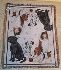 Woven Afghan Blanket Throw Wall Hanging Collie, Dalmatian Lab.New