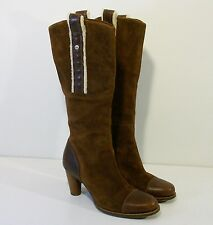 UGG~Women Tall Brown Suede Leather & Shearling TESS BOOT Size 8 w/ Heel  5504