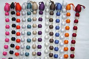 Modern Crystal Beaded Rope Tie Back/Tieback,  Decorative Holdback. 17 + Colours