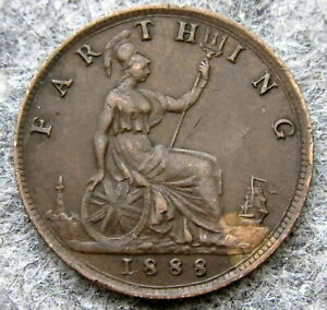 GREAT BRITAIN QUEEN VICTORIA 1888 FARTHING, BRONZE