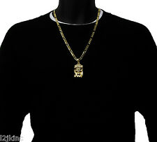 God Jesus Gold Plated Charm Piece Pendant Figaro Chain Necklace Jewelry