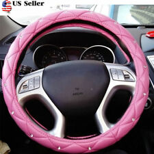 38cm PU Leather Car Steering Wheel Cover  for girls Women Car Accessories Pink