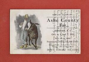 Rare 1911 Meet Me at the ASHE COUNTY FAIR - JEFFERSON NC - Caricature MAN, HORSE