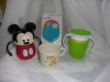 Lot of Baby Sip and 4 Lids Cups Munchkin Gerber Mickey Cup w/Rubber Straw