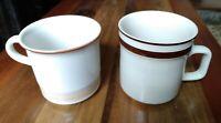 VINTAGE Japan Lot Of 2 Stoneware Coffee Tea Mugs Cream & Brown