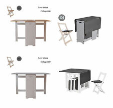 WestWood Dining Table and 4 Chairs Set Folding Drop Leaf Butterfly Kitchen DS16