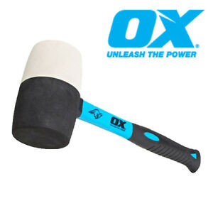 OX Tools 16oz Combination Rubber Mallet White Non Marking Hammer Face   T081916