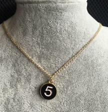 Beautiful Black Gold Circle Pendant Number 5 Charm Necklace
