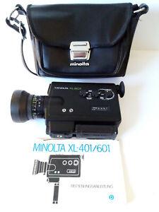 Beautiful vintage Design // Minolta XL 601. Super 8 Movie Camera & Original Case