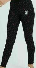 New Illusive London Girls Black Pink Logo Leggings Sportswear RRP £25.00 Free PP