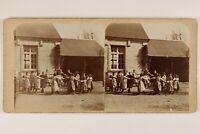 Francia Bambini Ecole A Vaucelles Près Bayeux Foto Stereo Vintage Citrato c1900