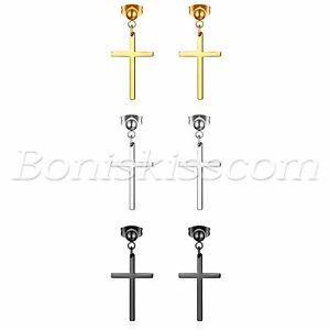 6pcs Stainless Steel Cross Drop Dangle Earrings Studs Men Women Piercing Jewelry