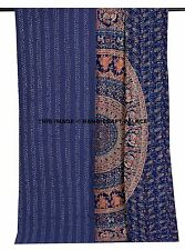 Kantha Stitched Quilt Queen Cotton Bedspread Indian Handmade Mandala Bed Cover