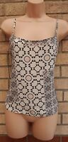 NEW LOOK CREAM BLACK BAROQUE PAISLEY STRAPPY CAMI TUNIC TOP VEST BLOUSE 8 S