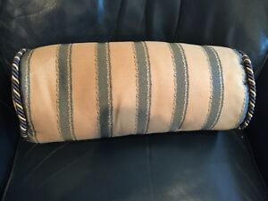 Neckroll Pillow Waterford Gray/beige Poly/rayon Striped Braid at ends NWT B1L