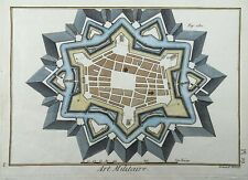 1786 FORTIFICATION City Walls - Diderot - Quarto hand colored engraving