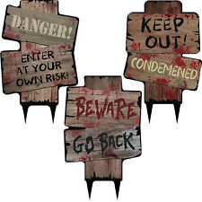 3 Assorted Halloween Horror Party Danger Keep Out Garden Lawn Sign Decorations