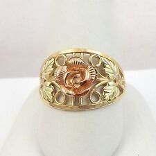 NEW 10K Tricolor Gold 3D Rose Filigree Ring Sz 8