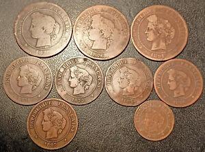 France - IIIème République - lot de x9 bronzes Cérès de 1871 à 1897 !