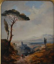 William Thomas Norman 1807-1872 19th Secolo Olio Paesaggio Italiano a bordo