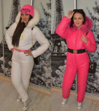 Woman Man Fashion Jumpsuit Overall Nylon Winter One Piece Ski Suit Tracksuit Fur
